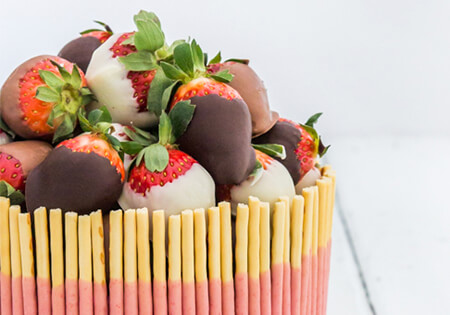 Pocky Strawberry Cake with Chocolate-Dipped Strawberries